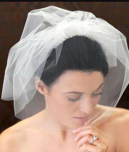 Hot Selling Wedding Veils White Ivory Handmade Bridal Veil Beaded Birdcage Veil Headpiece Head Veil Wedding Bridal Accessories