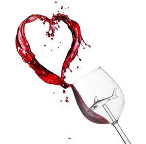 Red Wine Glasses - Lead Free Titanium Crystal Elegance Original Shark Red Wine Glass Shark Inside Long Stemmed Glassware 9074
