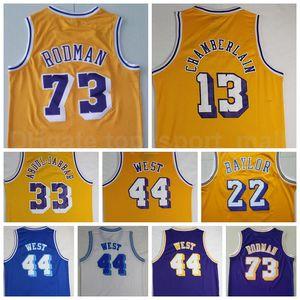 Homens Basquete Do Vintage Dennis Rodman Jersey 73 Wilt Chamberlain 13 Jerry West 44 Kareem Abdul Jabbar 33 Elgin Baylor 22 Roxo Amarelo Branco