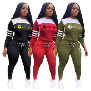 Letter Design Women Tacksuit Autumn Hooded 2 Piece Set Long Sleeve Sweatshirt Pullover + Pants Leggings Outftis Fashion Sports Suit Clothes