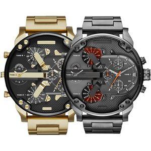 Vente chaude Sports Militaire Military Hommes Montres 50mm Big Cadran Doré En Acier Inoxydable Fashion Montre Montre de Prestige Luxury Reloj de Lujo