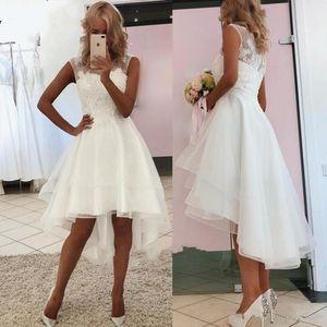 High Low Sleeveless Wedding Dress New Arrival A Line Jewel Sheer Neckline Lace Bridal Gown Custom Made Robe de mariee