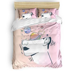Portrait Starry Sky Universe Line Duvet Cover Set 2 3 4pcs Bedding Set Bed Sheet Pillowcases Cover