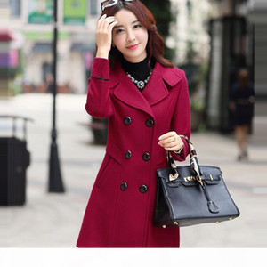 Fitaylor New Autumn Winter Women Wool Blend Warm Long Coat Plus Size Female Slim Fit Lapel Woolen Overcoat Cashmere Outerwear