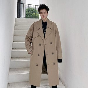 2020 Autumn And Winter New Youth Popular Men's Korean Version Of Solid Color Double-breasted Suit Collar Mid-length Trench Coat