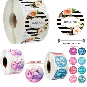 Round 500pcs Pink Flowers Pattern Thank You Seal Labels Christmas Stickers School Teacher Reward Stationery Sticker Havj