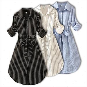 2021 Striped Women Dress Tunic Long Sleeve Elegant Shirt Dress Blue White Black Spring Summer Ladies Casual Stripe Mini Dresses