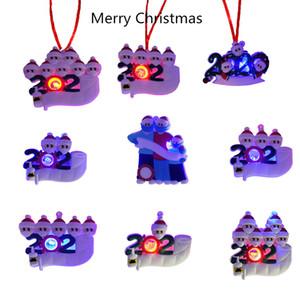 تحية LED المضاء شجرة عيد الميلاد الديكور شخصية عيد الميلاد الحلي DIY اسم الخاص 2020 هدايا عيد الميلاد بيع مصنع
