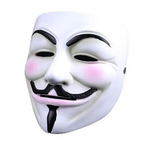 Bianco V maschera mascherata mascherina mascherine Eyeliner di Halloween pieno facciale puntelli del partito di faida anonimi film Guy libero all'ingrosso OWD2117