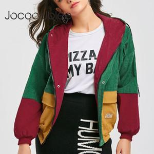 Jocoo Jolee Autumn Women Long Sleeve Patchwork Vintage Corduroy Jackets Casual Panelled Color Basic Coats Plus Size 3XL 201020