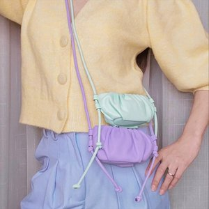 Designer Pleated Cloud Bag Soft Leather Handbags Women Mini Messenger Bags Purple Lilac Clutch Bag Cute Shoulder Bags