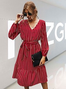 Autumn 2020 simple striped dress women's new chiffon cover belly reduce age temperament slim skirt Long Sleeve blouses loose 0930