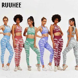 RUUHEE Yoga set WomenSport Suits Sportswear Woman Seamless Clothing Gym Wear High Waist Leggings and Bra 2 Piece Yoga Set
