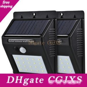 20 Led Solar Sensor Wall Light Motion Sensor Powered Wall Light Out Door Home Garden Wall Lights Night Security Lamp Gutter With Box Package