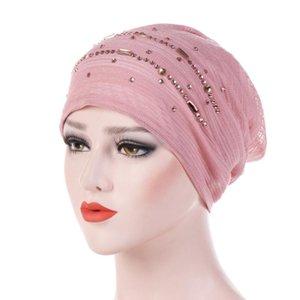 2020 Winter-Hüte für Frau Strass Indien Hat Muslim Ruffle Cancer Chemo Beanie Turban Wrap Cap Damen Freizeit-Caps 1030