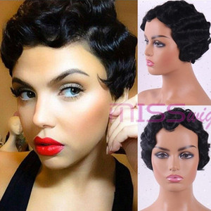 LINGHANG Short Curly High Temperature Synthetic Hair Finger Wave Wig Red White Black Gold 4 Colors Suitable For Black Women