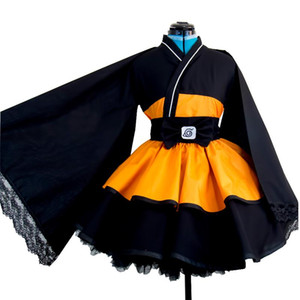 Naruto Cosplay Costume Uzumaki Naruto Lolita Dresses Kimono Women Dress Anime Cosplay Halloween Party Uniforms Wigs