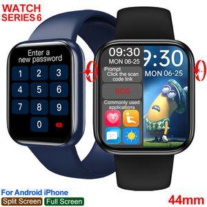 IWO HW16 Smart Watch Men Women Series 6 44mm 1.72inch Password Full Touch Split Screen Custom Dial Bluetooth Call Smartwatch PK FK88