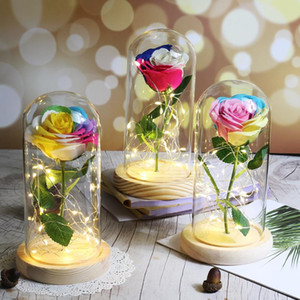 Home Decoration Ornament Artificial Flower With LED Light In Glass Dome For Wedding Party Valentine's Day gift Christmas Present