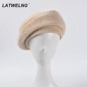 de 2020 New Inverno malha Beret Para Mulheres Imitação Mink Painter Hat quente grossa Plano Francês Caps Preto Cogumelo Hat Moda