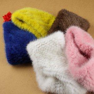 MS.MinShu Knit Mink Fur Headband Neck warmer Winter Women Head Wear Ear Warmer Neck Ring Elastic Style 201019