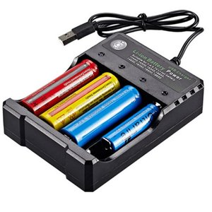 Multifunction 18650 USB Charger QUAD Slot Li-ion Battery Power For 3.7V Rechargeable Lithium Batteries