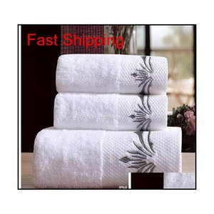 5 Star Hotel Luxury Embroidery White Bath Towel Set 100% Cotton Large Beach Towel Brand Absorbent Quick-drying jllzgm bdebag