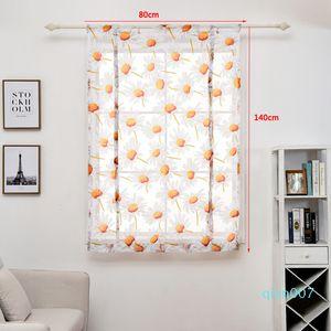 80*140cm Curtains Modern Bedroom Living Room Tulle Window Drape Valance Flower Printed Curtain Short Sheer Curtains Home Decor DBC DH0899-5