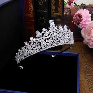 3A Cubic Zircon Wedding Crown Zirconia Tiara CZ Diadema Tiaras And Crowns Bridal Hair Accessories Couronne De Mariage WIGO1327 MX200720