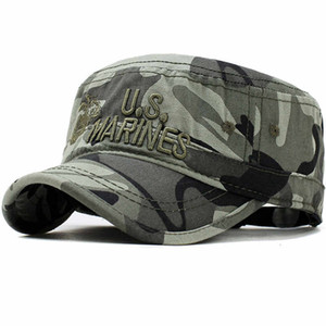 2019 United States US Marines Corps Cap Military Hats Camouflage Flat Top Men Cotton hHat USA Navy Embroidered Camo Hat