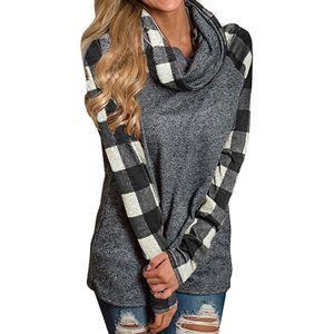 hoodies scarf collar sweatshirt sudadera mujer Plaid patchwork Pullover moletom feminino plus size S-5XL d90520