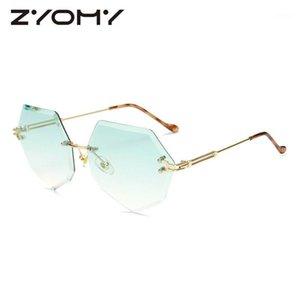 Q 2020 Zyomy Unique Ladies Eyewear UV400 Metal Frame Designerador de la marca Colores de gradiente Lente Polígono Mujeres Sunglasses1