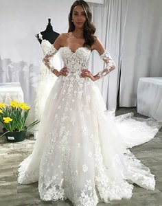 Charming Long Sleeves Lace Wedding Dress Tulle Sweetheart Sexy Backless Long Bridal Gown Appliques Custom Made