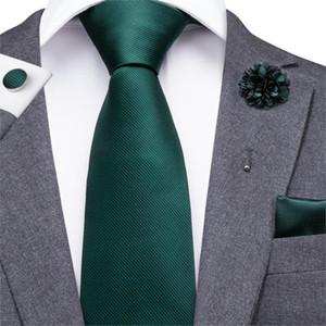 CLI-830 Green Homme Cravate Cravate Set Crêche en soie Turquoise Boutonniere Handkerchiefs Définit Emeraude Business Wedding Cravates pour hommes