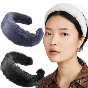 Fasce Faux Fur capelli fascia larga morbida Furry tenere la testa Lunetta Hairband Accessori per capelli per capelli delle donne del cerchio Headwrap