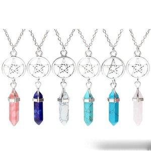 Natural Chakra Colares do Gem Stones Mulheres Moda Bala Meninas Círculo Five Star Charme Cristal de Quartzo Colar Forma de Jóias Xtah