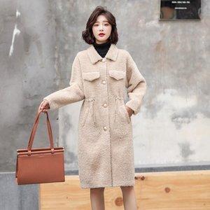 Escudo Piel real de lana femenino de la chaqueta de otoño invierno de la capa ropa de las mujeres 2020 coreanos de la vendimia de las ovejas de piel de oveja de tapas largas KWA661
