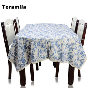 Teramila Dining Table Cloth Lace Side Blue Floral Design Tablecloth Thick Linen Cotton Table Cover Home Textile For Party Mantel