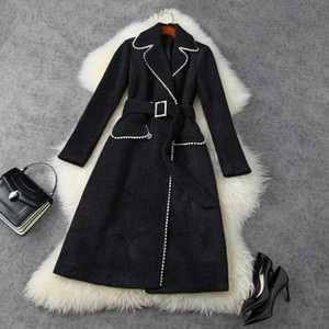 2020 Fall Long Sleeve Notched-Lapel Black   White Imitation Mink Knitted Belted Beaded Double-Breasted Coat Long Outwear Coats MN09T11543