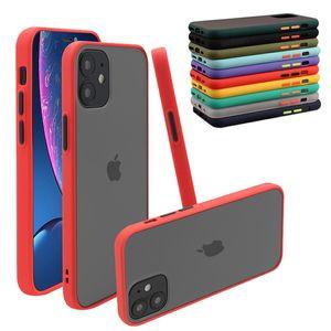 Şeffaf mat buzlu hibrid tpu pc darbeye dayanıklı sert telefon kılıfı iphone 12 11 pro xs max xr x 8 7 6 artı