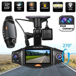 Obiettivo doppio a cristalli liquidi macchina fotografica dell'automobile DVR HD pieno 1080P GPS Dash Cam Video Recorder con retrovisione notturna Verison G-sensor DVR Cam Dash Car