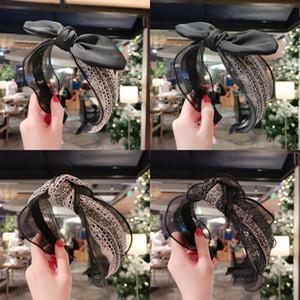 Retro Saç Hoop Dantel Kumaş Sanat Rhinestone Kakma Kravat Tavşan Kulakları Yay Geniş Kenar Moda Kafa Aksesuarları Kadınlar için Kıllar Bant 6HY K2B
