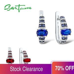 Santuzza Pendientes de plata para mujeres Genuine 925 Sterling Silver Elegant Oval Azul Rojo Azul Pendientes Pendientes Joyería fina Q1112