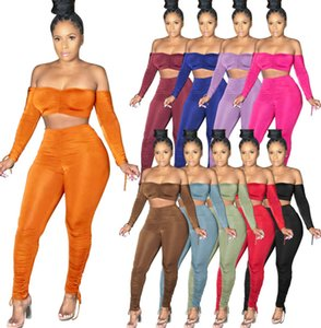 Women Sport Two Pieces Set Outfit Strapless Bodysuit Leggings Drawstring Pants Tracksuits Workout Clothes