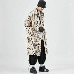 EWQ / Мужская одежда 2020 Осень Новый Повседневный Большой Размер Длинные Требовое пальто Негабарита 5XL Размер Печать Ветровая ветровка Одиночная погружная 9Y37011