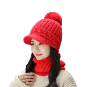 New Women's Hat Winter Beanie Knitted Hat Scarf Set Bonnet Girl 's With Fur Pom Pom Female Cap1