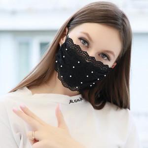 Máscaras do desenhador de moda Pérola Lace máscara facial Máscara ajustável Circuito Anti-poeira lavável Máscara Facial reutilizável Ice Silk para adultos 4 cores