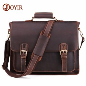 wholesale 2020 Vintage Men's Genuine Leather Briefcase Crazy Horse Genuine Leather Messenger Male Laptop Bag Men Business Travel Bag
