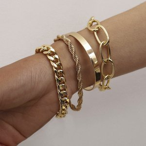 2021 Trendy 4Pcs Set Hip Hop Chunky Thick Miami Curb Cuban Bracelets Bangles Punk Metal Twisted Rope Chain Bracelet Jewelry Gift AL7585