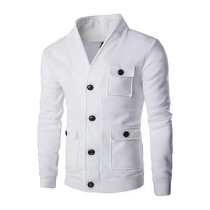 Мужская модная воротник кардиган свитер сплошной цвет большой карманный декоративный куртка пальто куртки мужчины весна осень мужские топы 2 раз